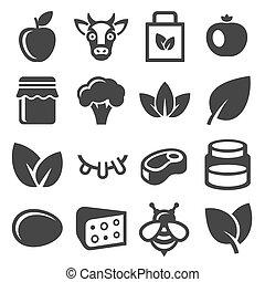 אורגני, איקונים, חוה, set., אוכל, וקטור