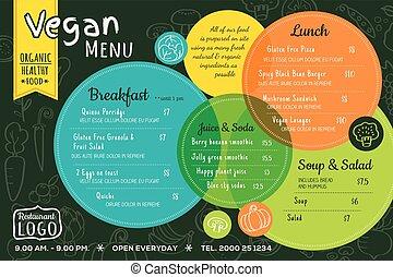 אורגני, צבעוני, מסעדה, אוכל, תפריט, פלאכאמאט, ואגאן, עלה, דפוסית, או