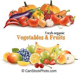 אורגני, vegetables., בריא, דוגמה, אוכל., וקטור, רקע, פירות, טרי