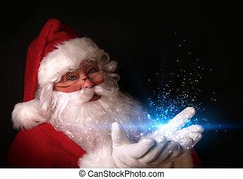 אורות, ידיים, קסום, סנטה, להחזיק