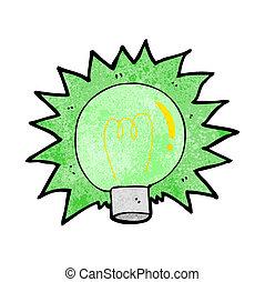 אור, להבהב, ירוק, ציור היתולי, נורת חשמל