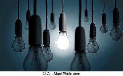 אור, מישהו, הדלק, נורת חשמל,