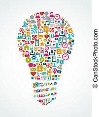 אור, eps10, איקונים, תקשורת, רעיון, הפרד, סוציאלי, נורת חשמל, file.