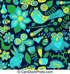 או, hedgehog., קיץ, template., רקע., pattern., יער, רקע, טקסטורות, רשת, תבנית, שפן, עמוד, פרפר, seamless, וקטור, רקע, design., נייר, זה, ינשוף, מארג, פרחוני, התגלה, התמלא, השתמש