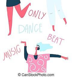 אזניות, העבר, רקוד, טקסט, :, צייר, הרבץ, מוסיקה, לרקוד, ילדה
