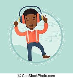 אזניות, מוסיקה מקשיבה, לרקוד., איש