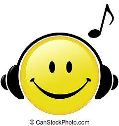אזניות, ראה, מוסיקלי, שמח, מוסיקה
