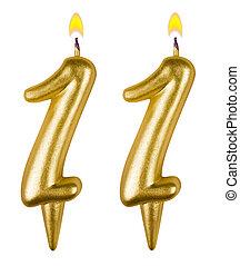 אחד עשר, נרות, יום הולדת, מספר, הפרד
