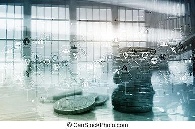 אחסן, ממן, שלוט, עסק, חשיפה כפולה, אסטרטגיה, marketing., לוח, מושג, להחליף
