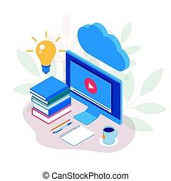 איזומטרי, מושג, קדור, הקרן, דוגמה, חינוך, פי.סי, וקטור, וידאו, אונליין, שיעורים, webinar, concept., לימוד אלקטרוני