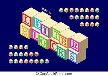 איזומטרי, מעץ, צבעוני, מכתב, מיכשולים, אלפבית
