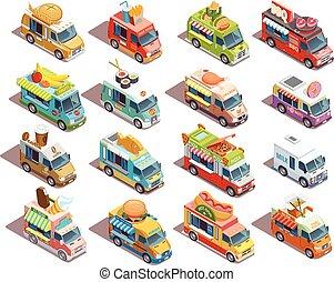 איזומטרי, משאיות, איקונים, אוכל, אוסף, רחוב