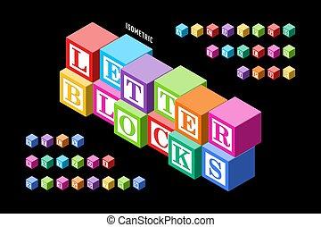 איזומטרי, צבעוני, מכתב, מיכשולים, אלפבית