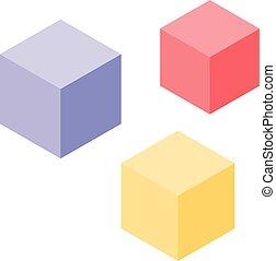 איזומטרי, שחק, צבעוני, סיגנון, קוביות, איקון