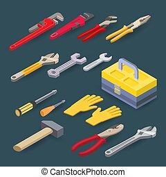 איזומטרי, tools., hammer., set., אינסטלטור, משוך, וקטור, מברג, רוחקים, בניה