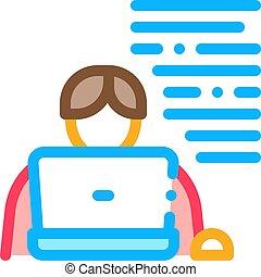 איקון, מחשב נייד, וקטור, סופר, דוגמה, תאר