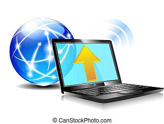 איקון, שלח, ענן, אינטרנט