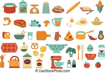 איקונים, אוכל, -, אוסף, וקטור, דוגמות