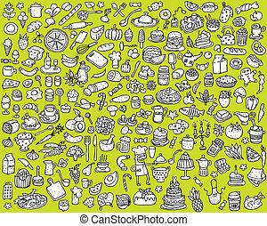 איקונים, אוכל, גדול, אוסף, שחור, לבן, מטבח