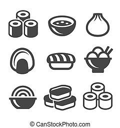 איקונים, אוכל, set., סושי, יפאנים, וקטור