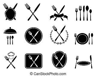 איקונים, כליים, לאכול, קבע