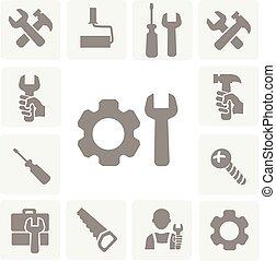 איקונים, לעבוד, משוך, הקלט, הפרד, מברג, כלים, קבע, למדוד, הבס, וקטור