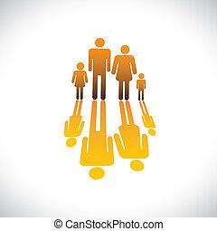 איקונים, צבע, אנשים, תפוז, דוגמה, אבא, ילדה, משפחה, ילד, גרפי, symbols-, ארבעה, השתקפות, &, אמא