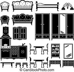 איקונים, שחור, רהיטים