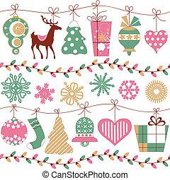איקונים, תבנית, seamless, אורות, אופקי, חג המולד