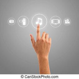 איקונים, תקשורת, סמל, העבר, ראה, ללחוץ, מוסיקה