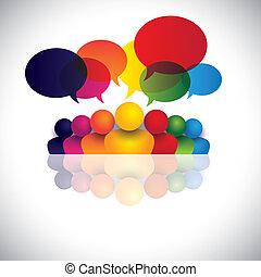 אירוסין, אנשים של משרד, תקשורת, דיונים, ילדים, צוות, &, תקשורת, גם, עובד, פגישה, ילדים, פעולת גומלין, ועידה, מציג, גרפי, לדבר., לדבר, וקטור, סוציאלי, או