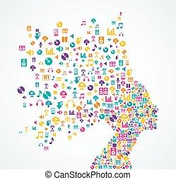 אישה, איקונים, אפליקציה, התז, מוסיקה, ה.א.ה.