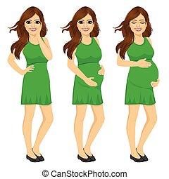 אישה, בהריון, מעבד, להראות, הריון, לגדול