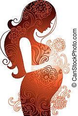 אישה, בהריון, צללית