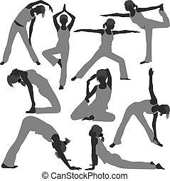 אישה בריאה, מניח, יוגה, התאמן