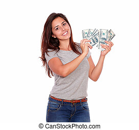 אישה, דולרים, פדה, צעיר, לחייך, מקסים