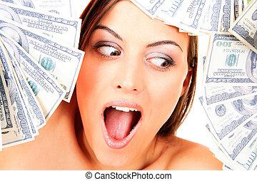 אישה, דולר, צעיר, שמח