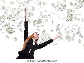 אישה, הסתכל, עסק, כסף, , גשם, מתחת