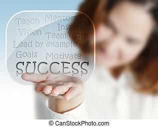 אישה, הצלחה, זרום טבלה, העבר, כוס, בועות, מראה