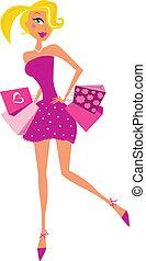אישה, ורוד, רומנטיות, קניות