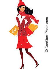 אישה, חורף, קניות