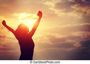 אישה, חזק, ידיים, אמון, פתוח