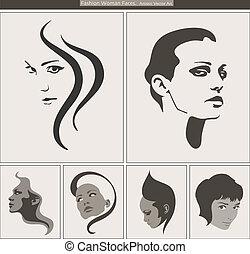 אישה, יופי, portrait., צפה, וקטור, דיוקנים, צללית