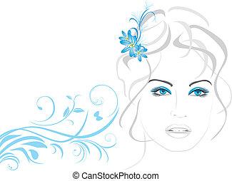 אישה יפה, פרחים