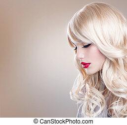 אישה יפה, שיער ארוך, מתולתל, portrait., בלונדיני, בלונדינית, ילדה