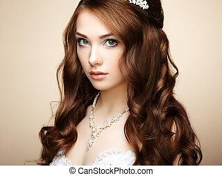 אישה יפה, hairstyle., צילום, אלגנטי, dress., דמות של חתונה, עצב, סנסואלי