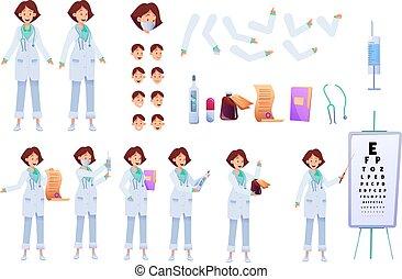 אישה, יצירה, רופא, וקטור, קבע, אנימציה, דירה
