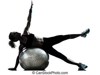אישה, כדור, אימון, כושר גופני, להתאמן