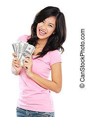 אישה, כסף, להראות, הפרד, רקע, לבן