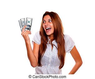 אישה, כסף, פדה, להסתכל, שמח מרוגש